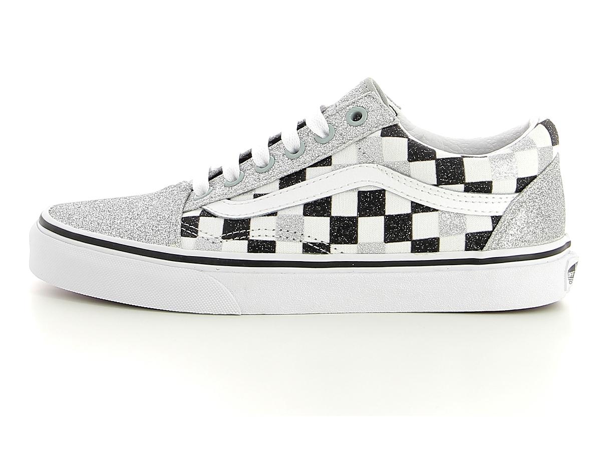 Vans old skool checkerboard argent | baskets sneakers tennis femme ...